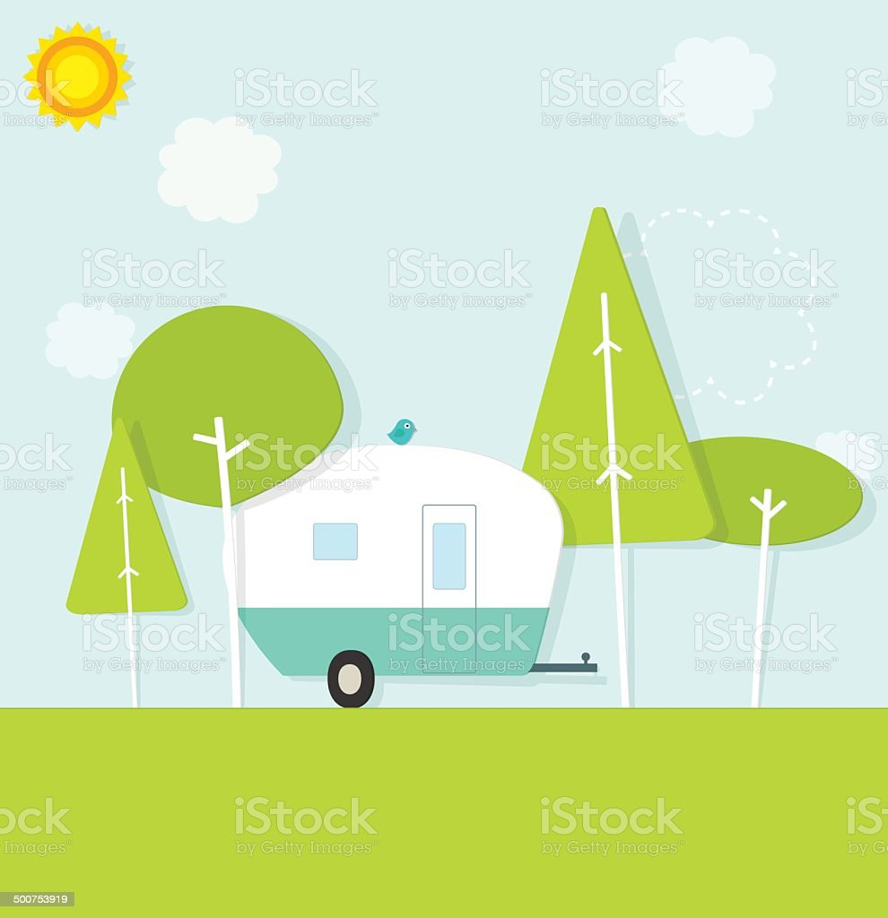 caravan in the woods vector art illustration