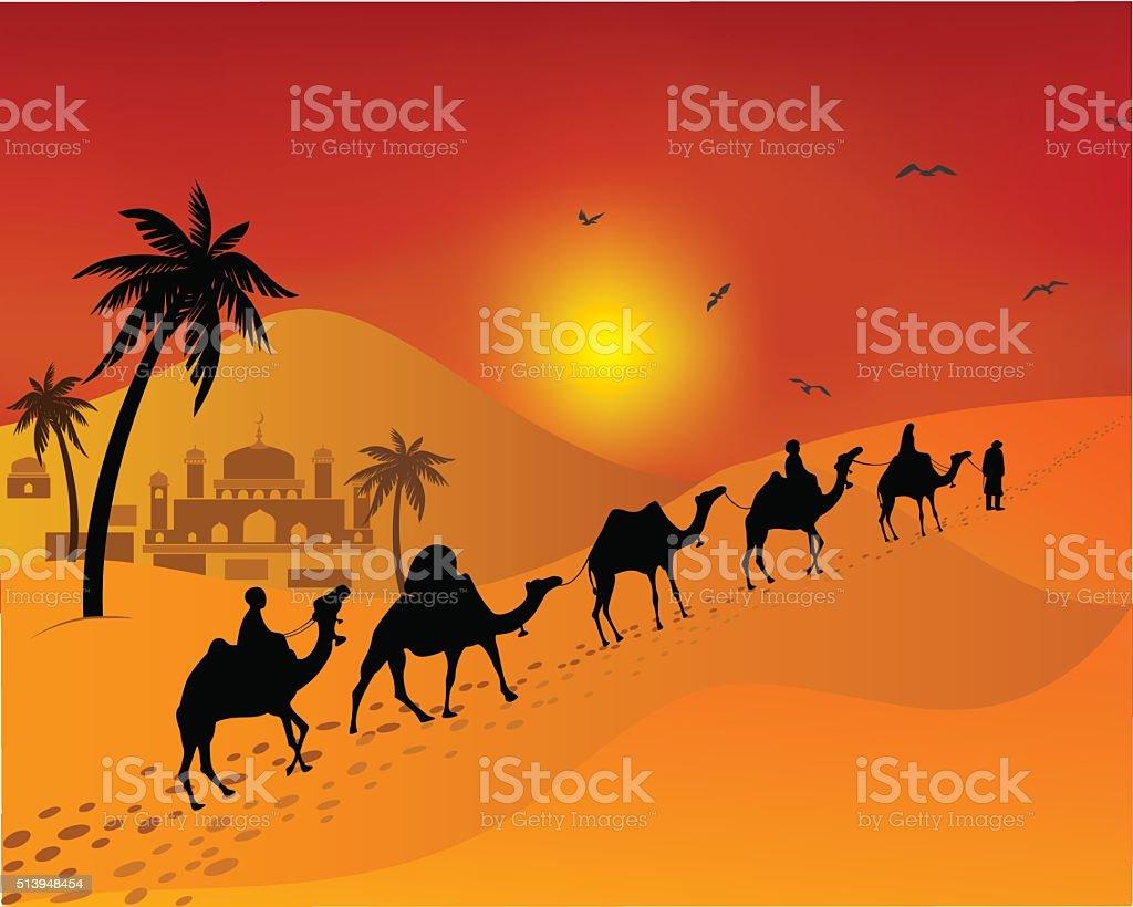 Caravan of camels going through the desert. east. Muslim landscape. vector art illustration