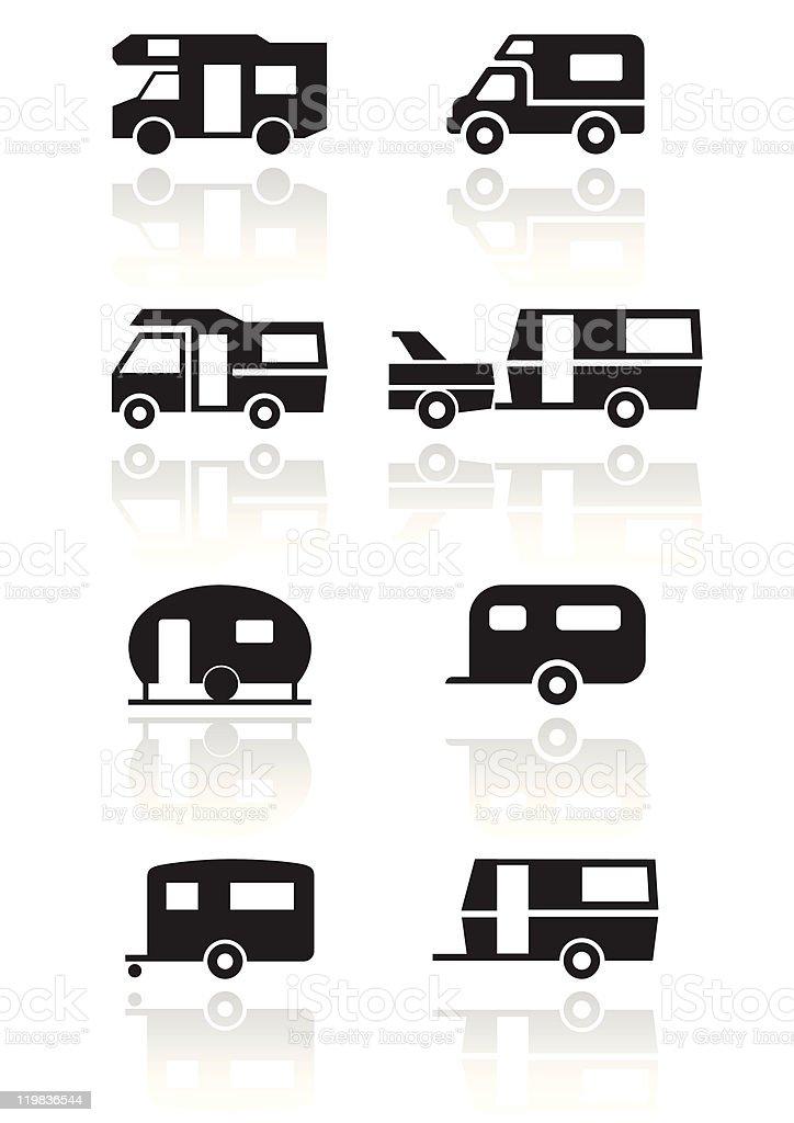 Caravan or camper van symbol vector illustration set. vector art illustration