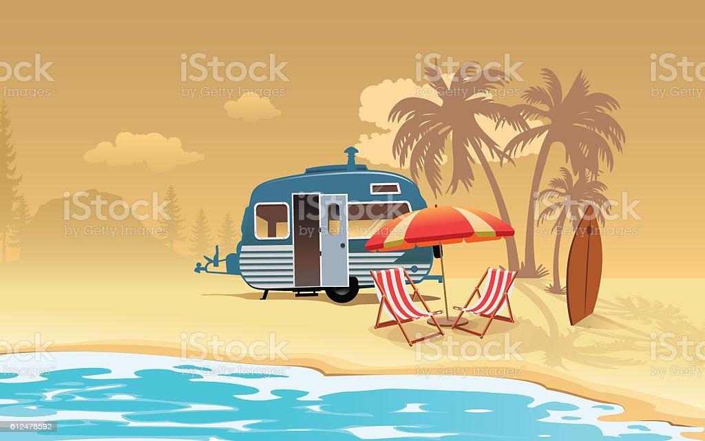 Caravan vacation vector art illustration