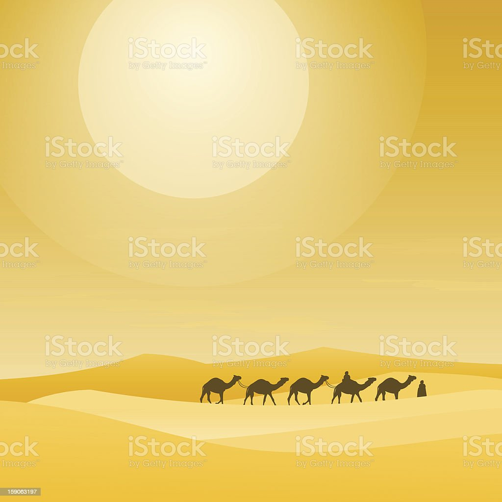 Caravan With Sand Dunes vector art illustration