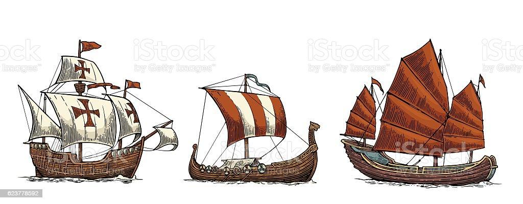 Caravel, drakkar, junk. Set sailing ships floating sea waves. vector art illustration