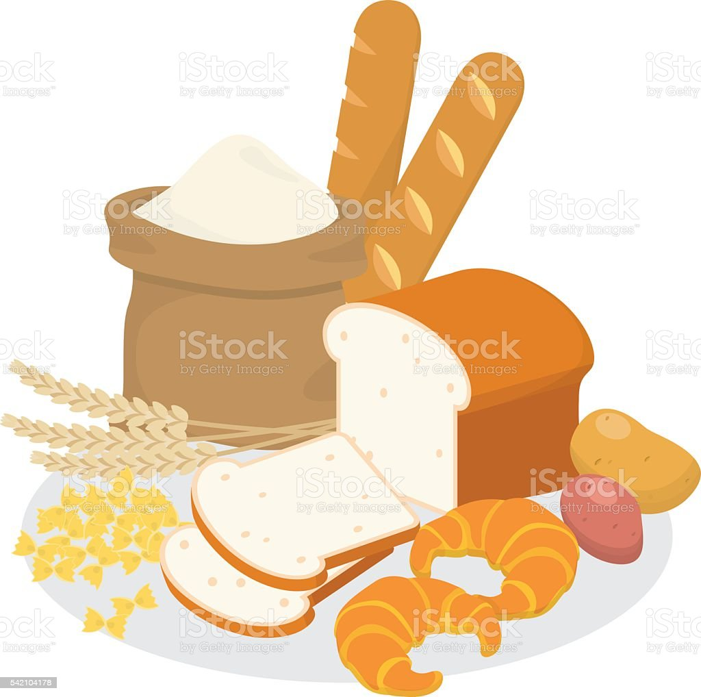 Carbohydrate food. vector art illustration