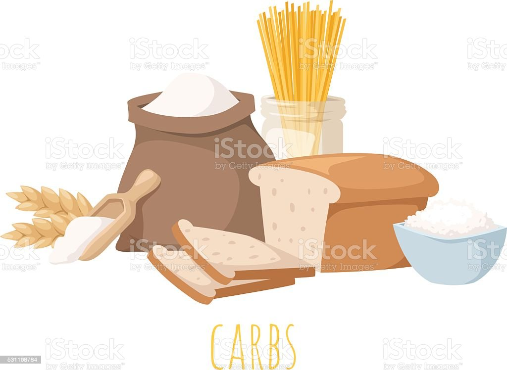 Carbohydrate food vector illustration vector art illustration