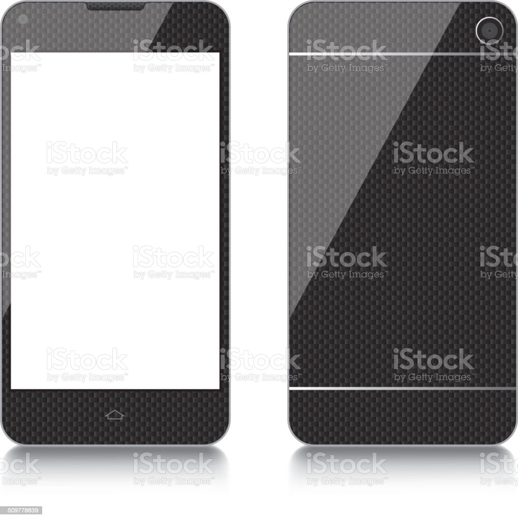 Carbon Fiber mobile phone vector art illustration
