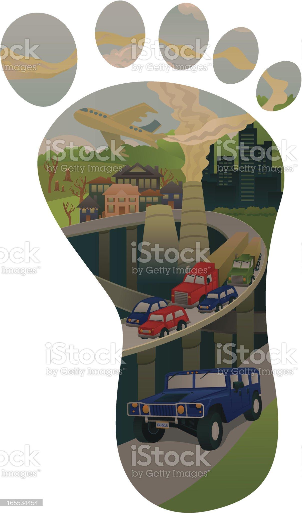 Carbon footprint concept, illustration royalty-free stock vector art