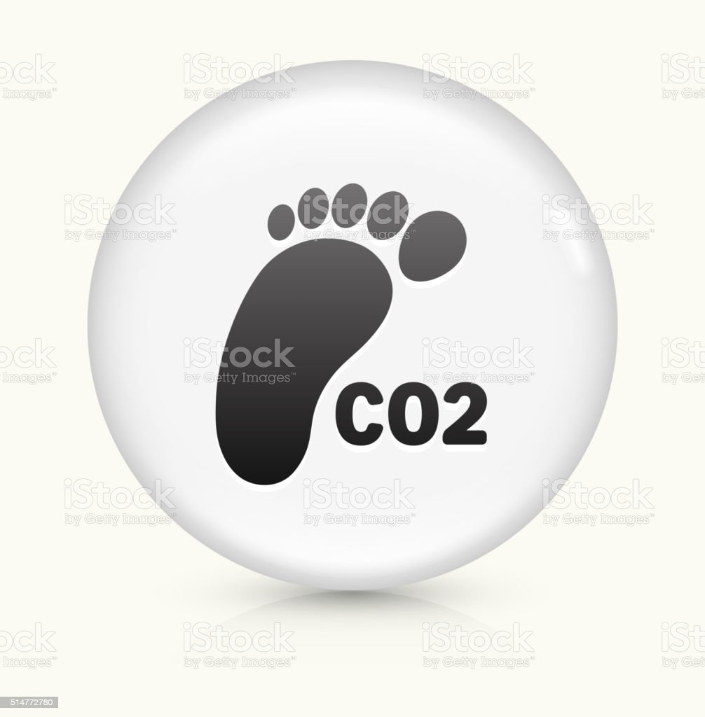 carbon footprint icon on white round vector button vector art illustration
