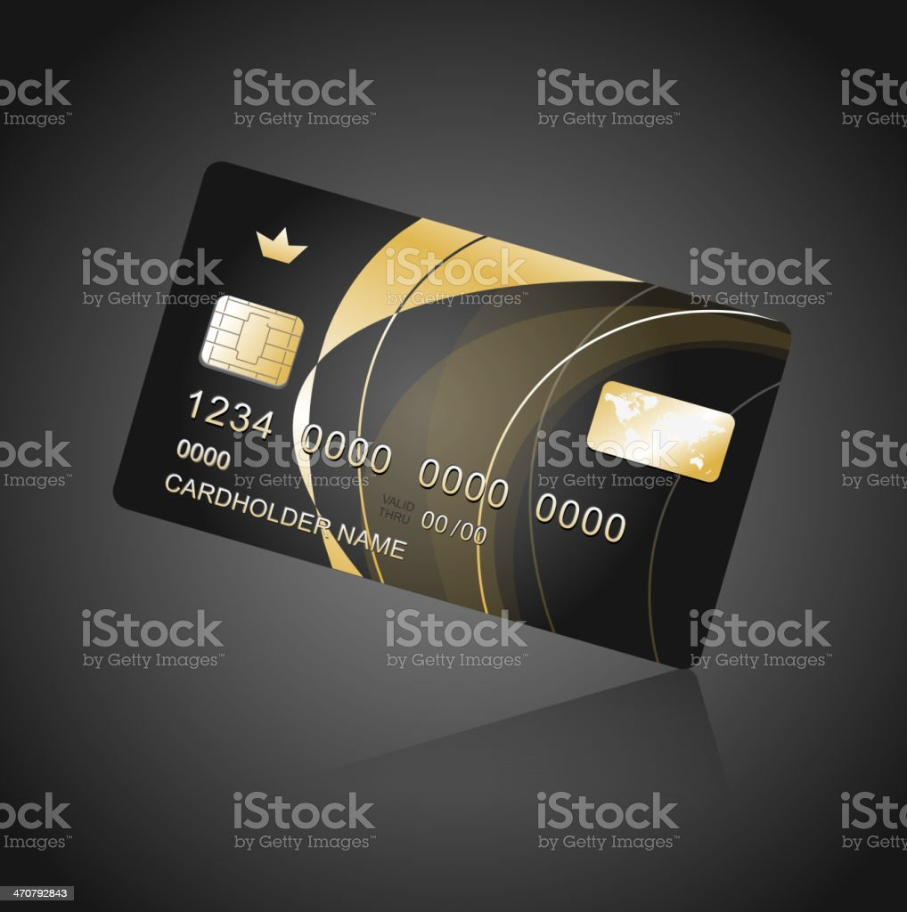 VIP Card black and gold vector art illustration