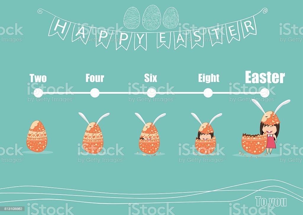 Card cartoon girl rabbit happy easter egg of development vector art illustration