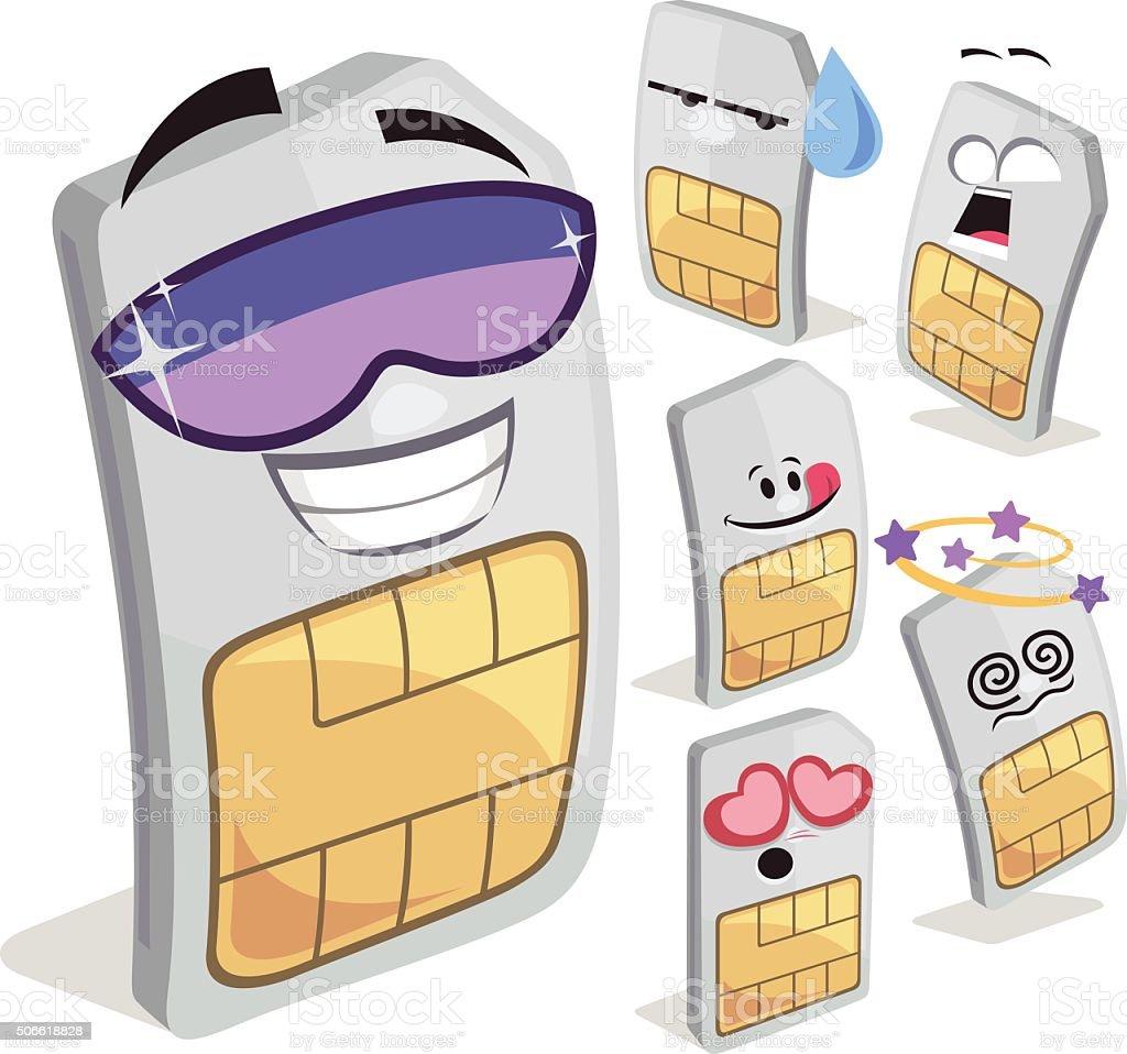 SIM Card Cartoon Set A vector art illustration