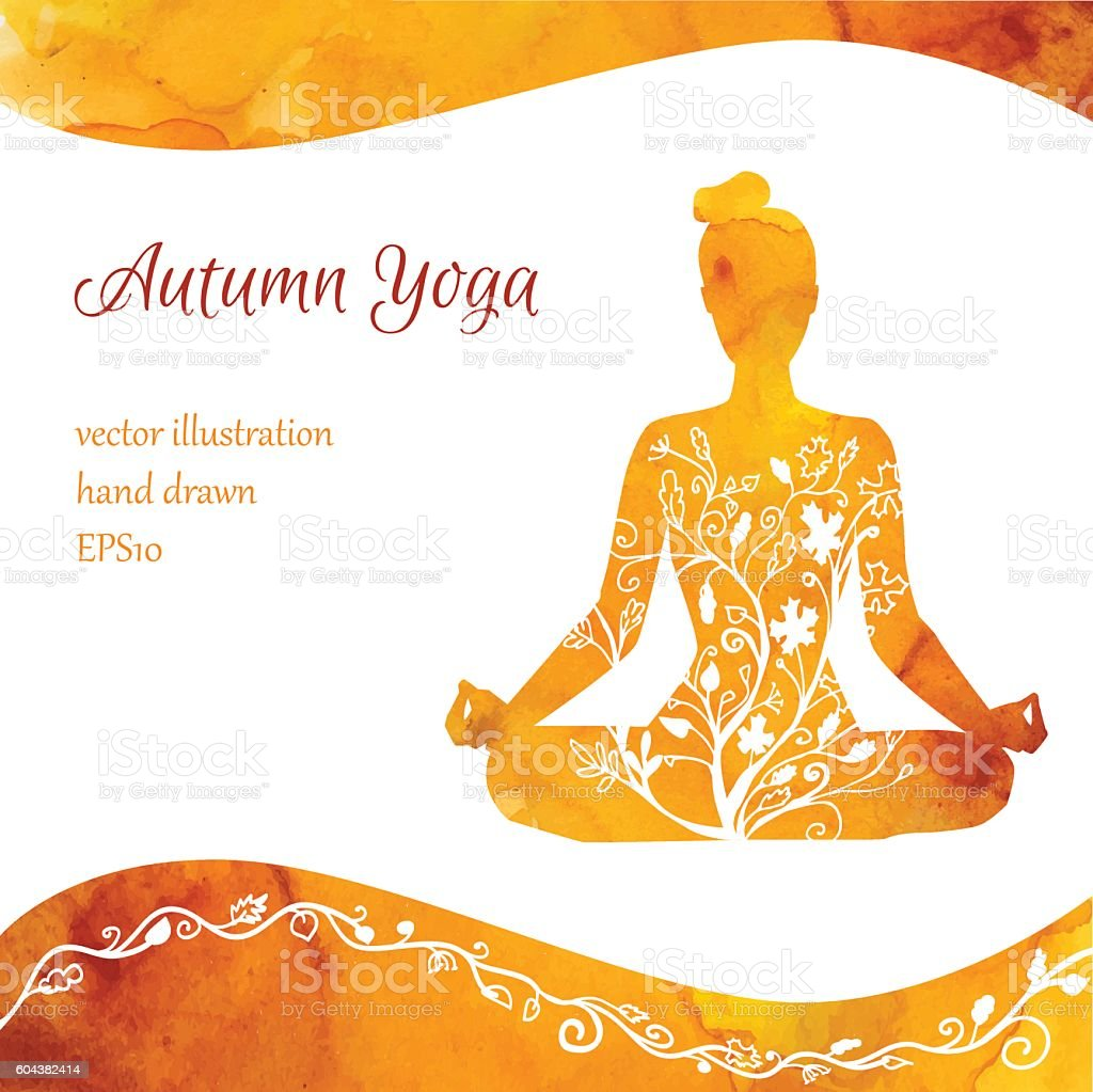 Card design with meditating woman and watercolor texture vector art illustration
