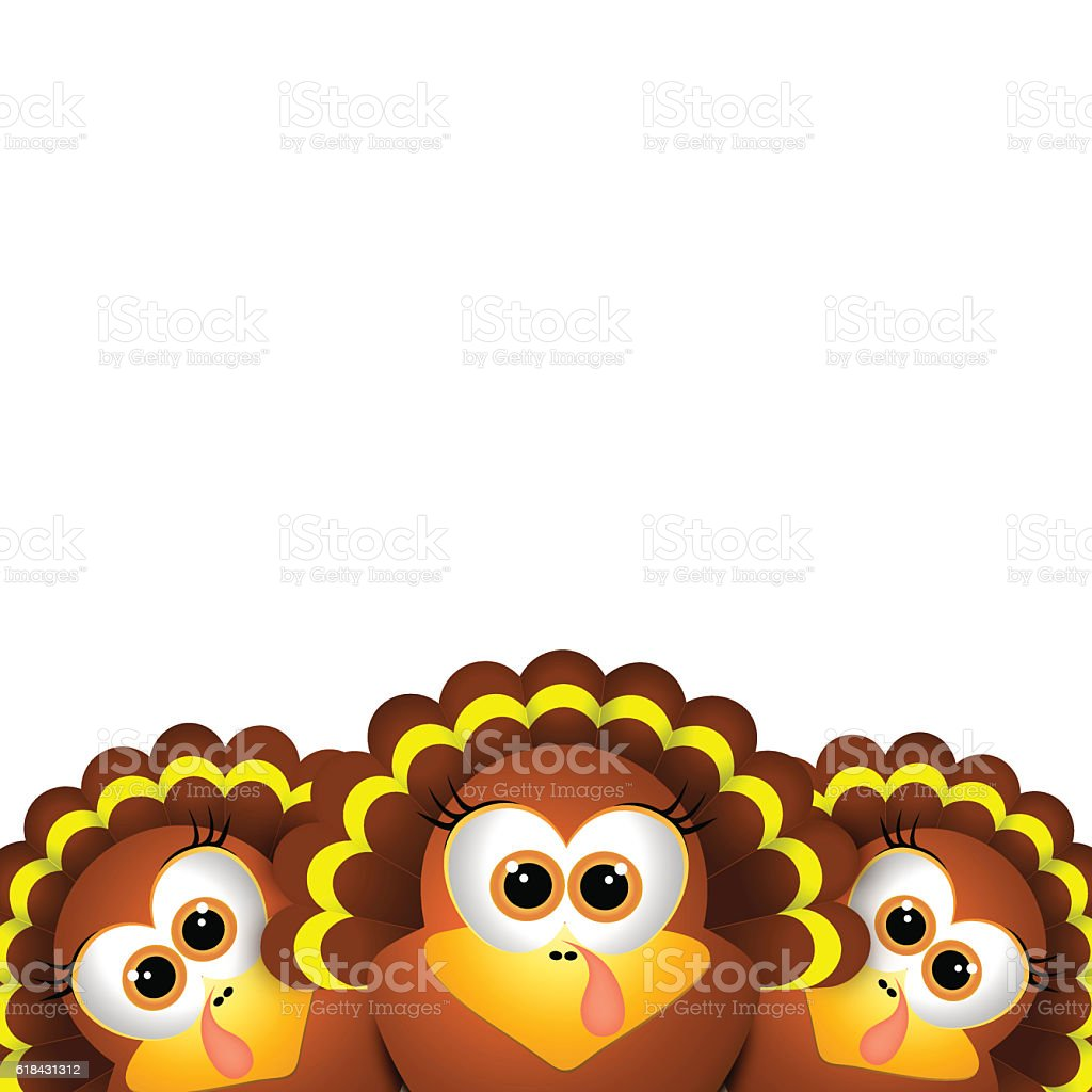 Card for Thanksgiving Day. Funny turkey on white background vector art illustration