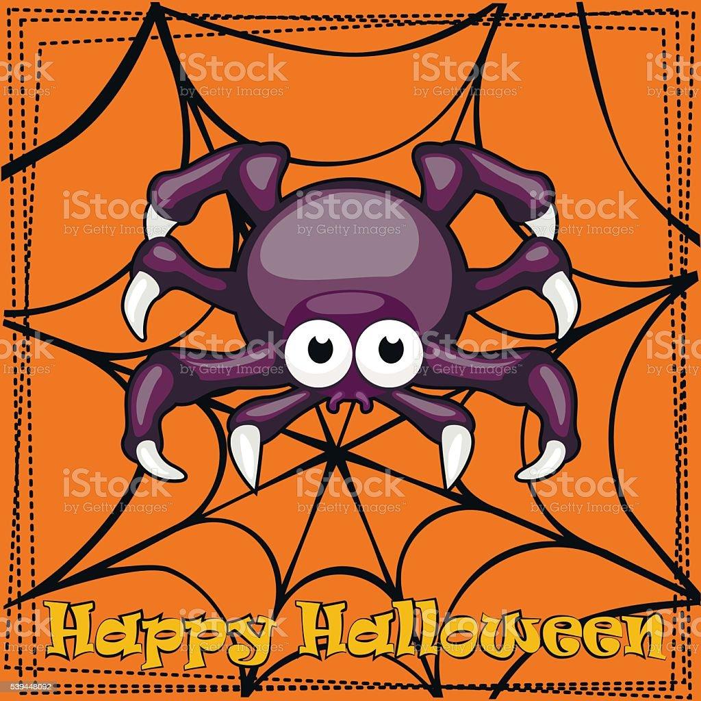 Card Happy Halloween, cartoon Spider vector art illustration