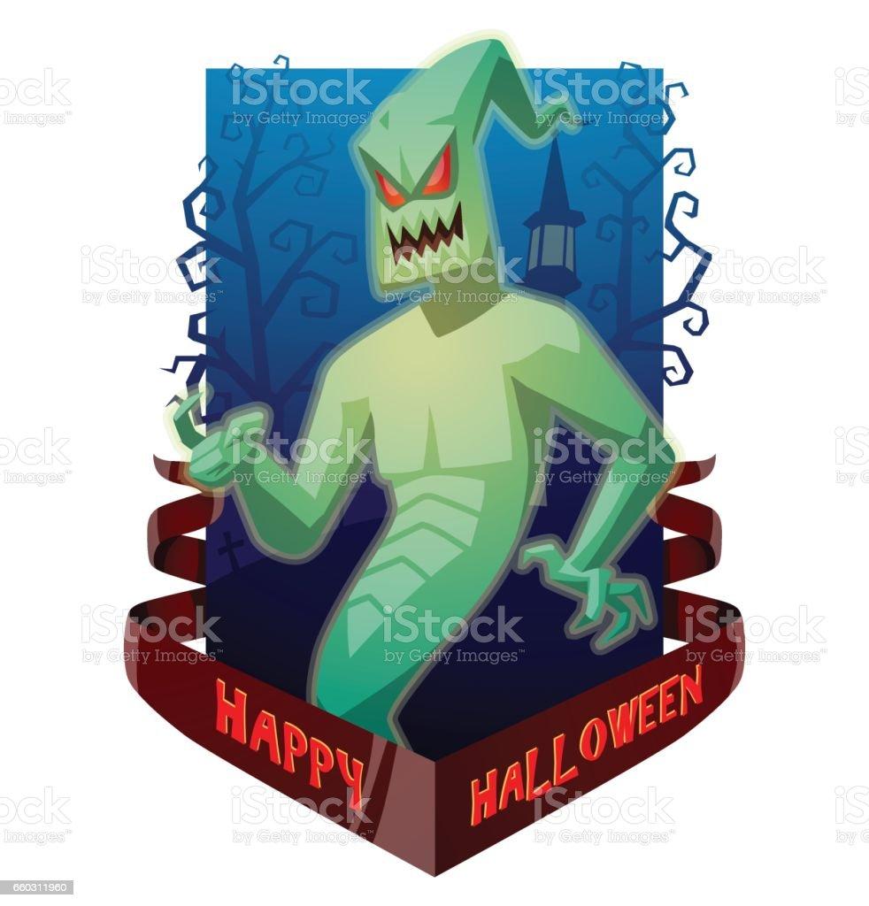 Card 'Happy Halloween', funny light green ghost beckoning someone vector art illustration
