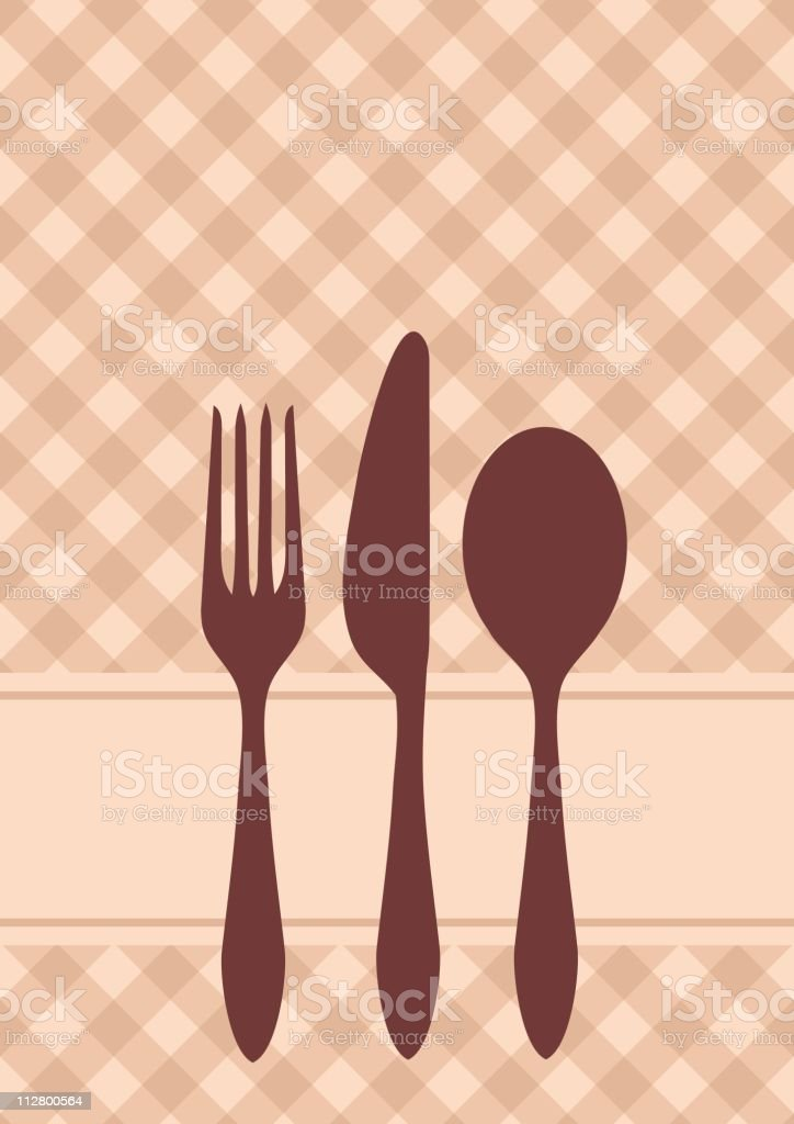 Card illustration with eating utensils royalty-free stock vector art