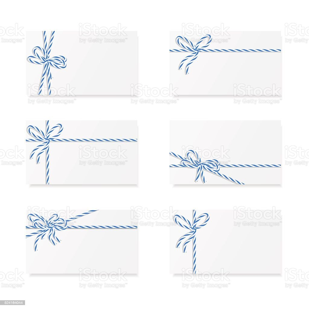 Card notes with gift bows vector art illustration