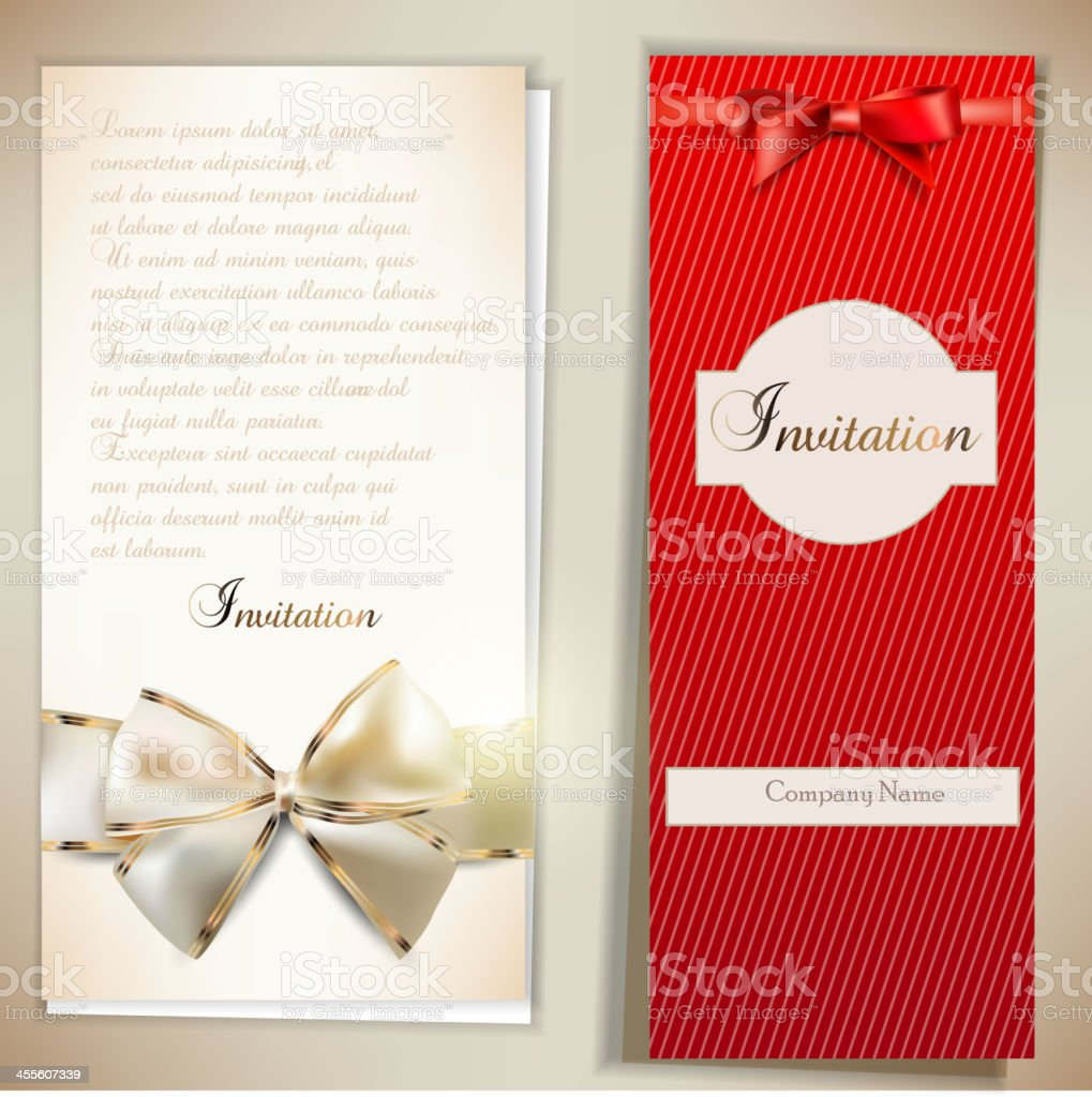 Card notes with ribbons. Red and white invitations royalty-free stock vector art