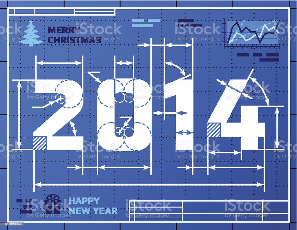 Card of New Year 2014 like blueprint drawing royalty-free stock vector art