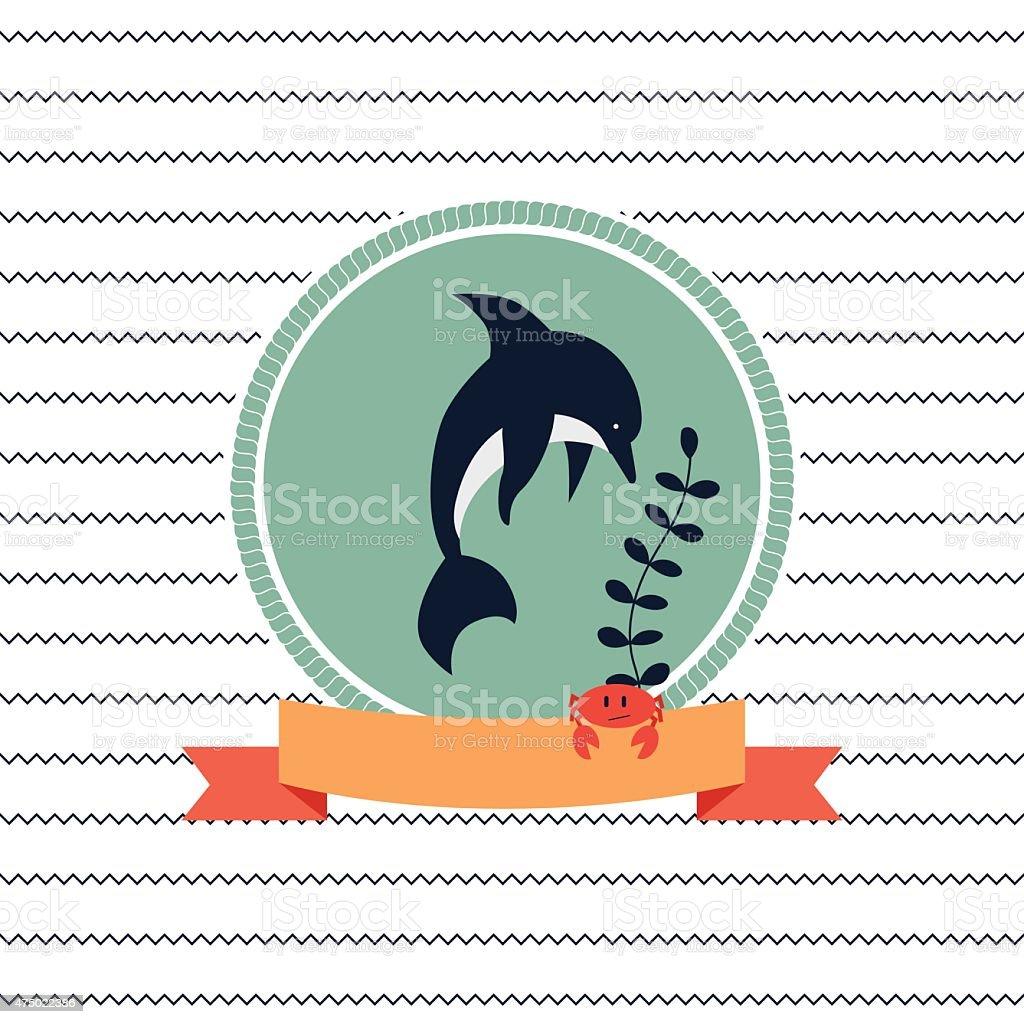 card on sea theme vector art illustration