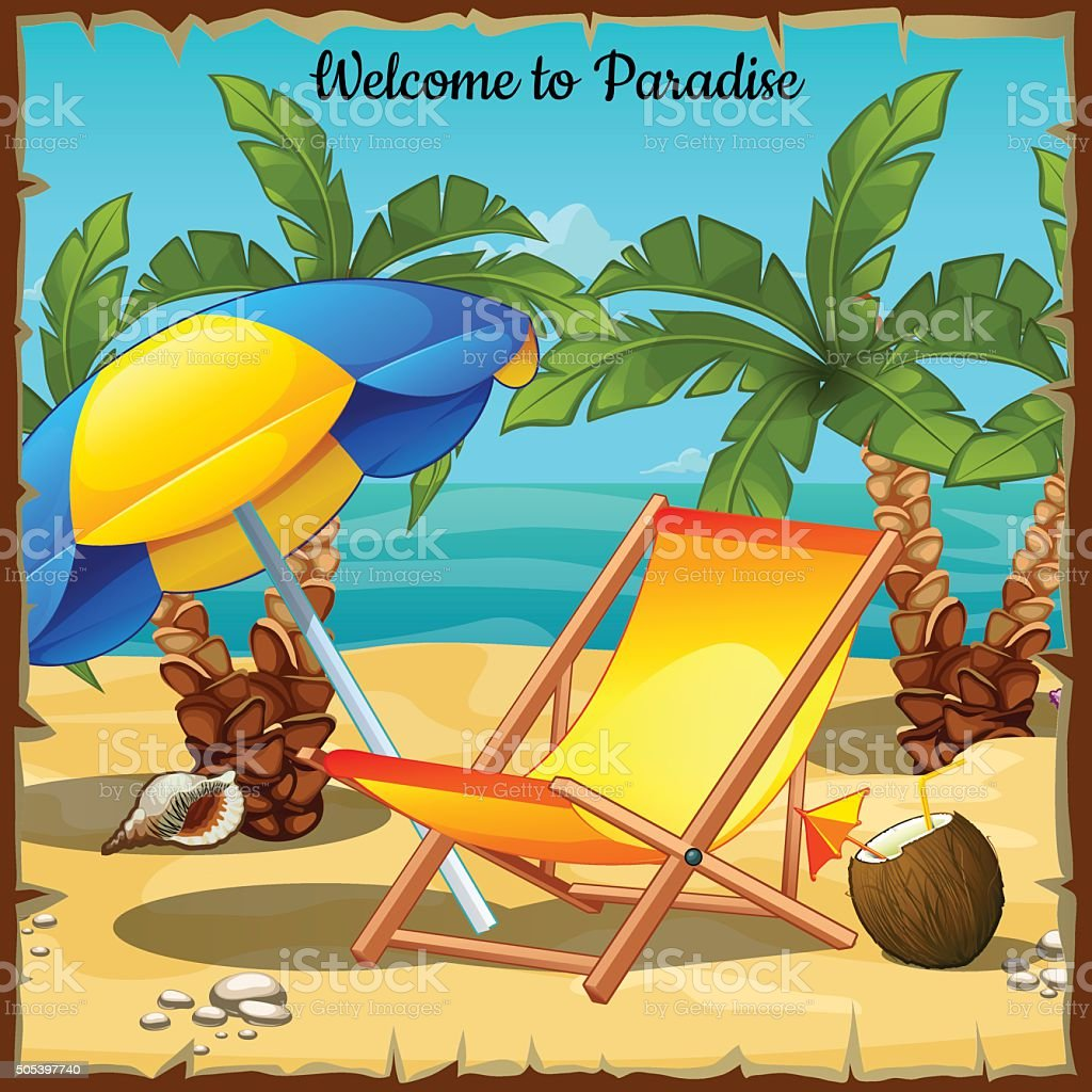 Card on the ocean with palm trees and sun loungers vector art illustration