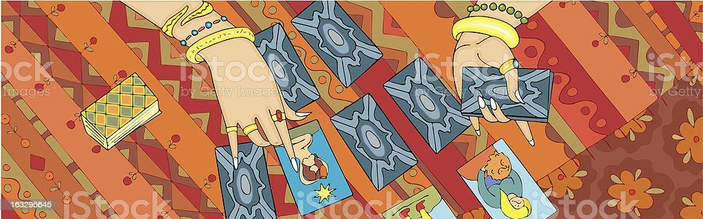 Card Reading Tarot Hand Banner royalty-free stock vector art
