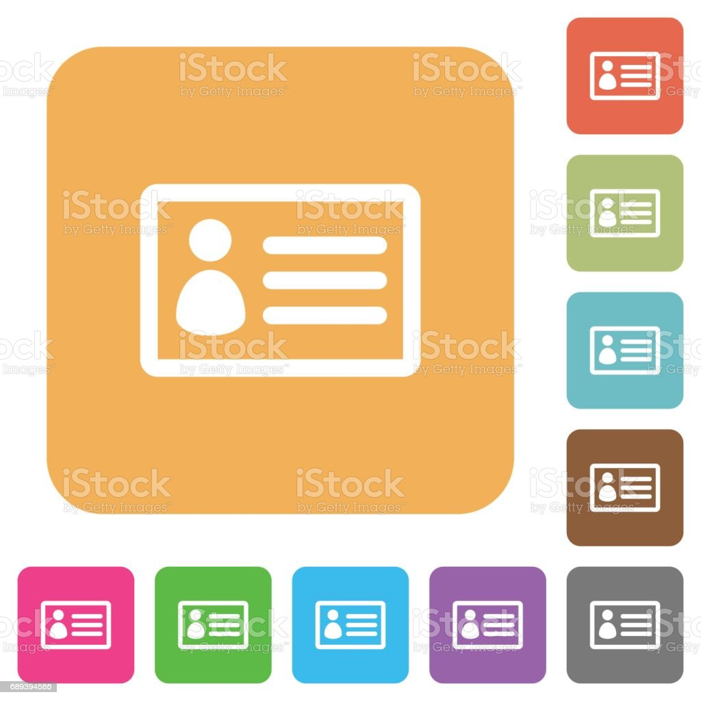 ID card rounded square flat icons vector art illustration