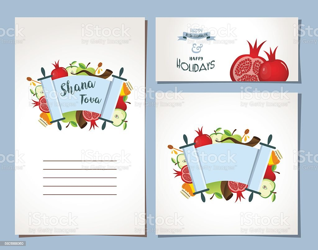 card set for Jewish Holiday Rosh Hashana with traditional symbols vector art illustration