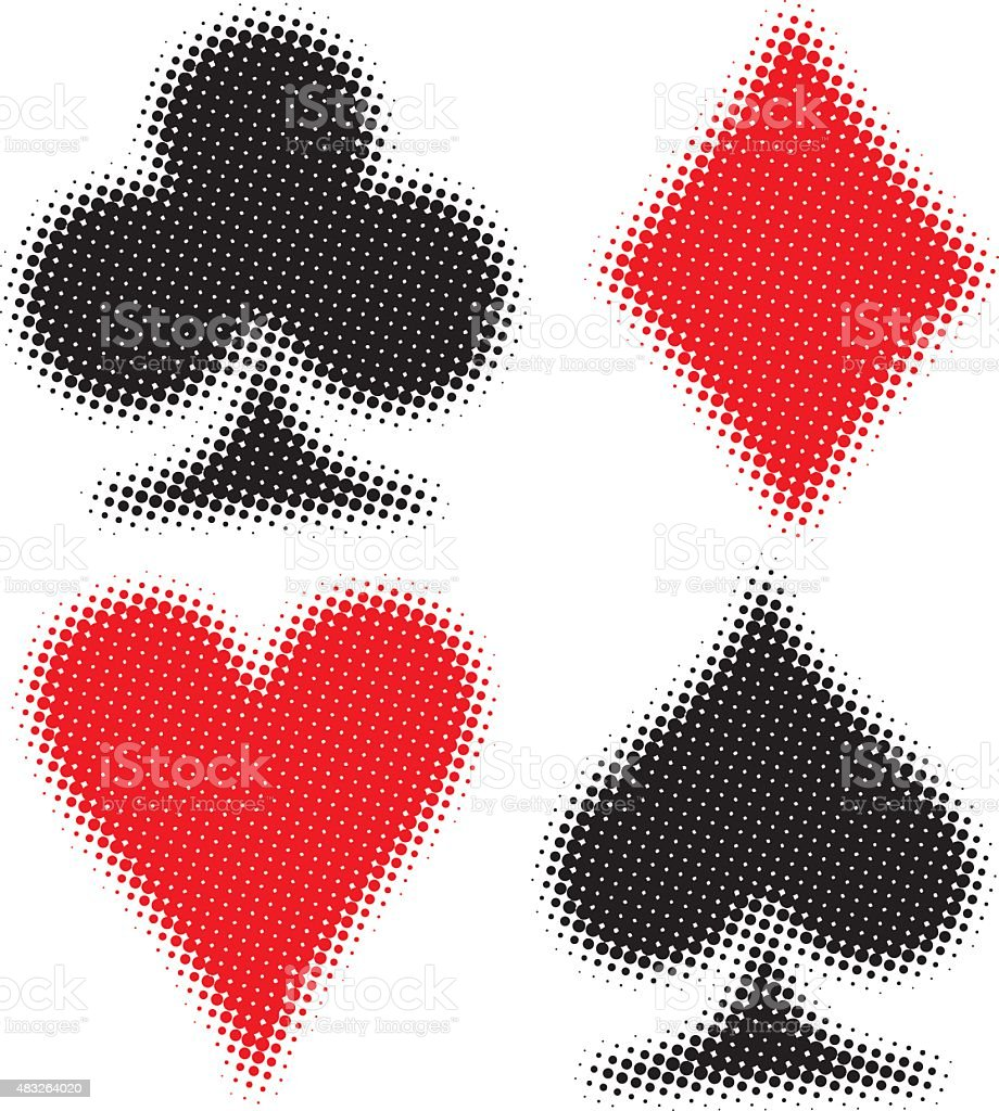 Card Suits Half Tone vector art illustration