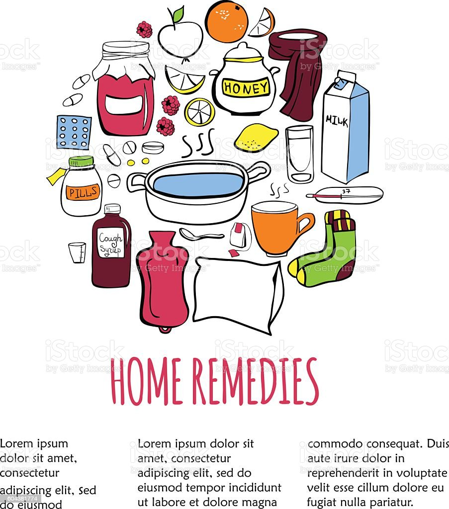 Card template with home remedy vector art illustration
