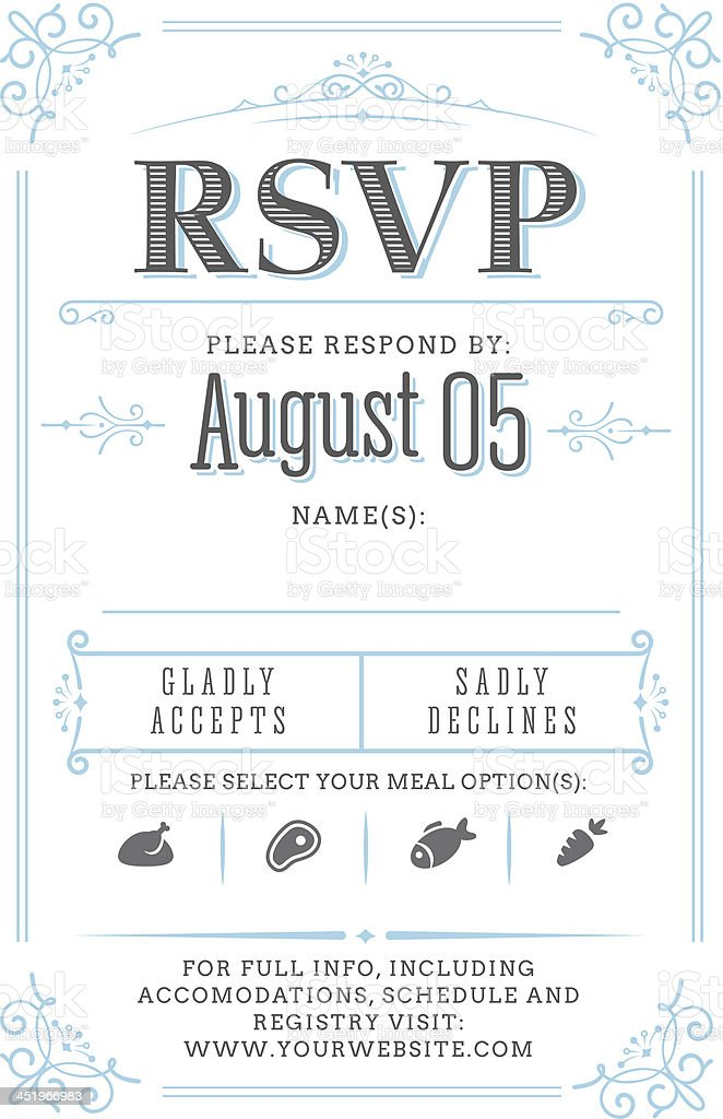 RSVP card (invitation) royalty-free stock vector art