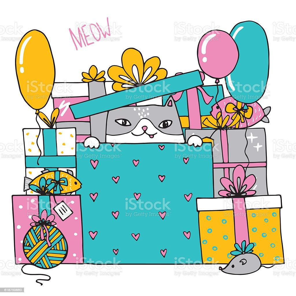 Card with a birthday cat with presents  inside a box vector art illustration