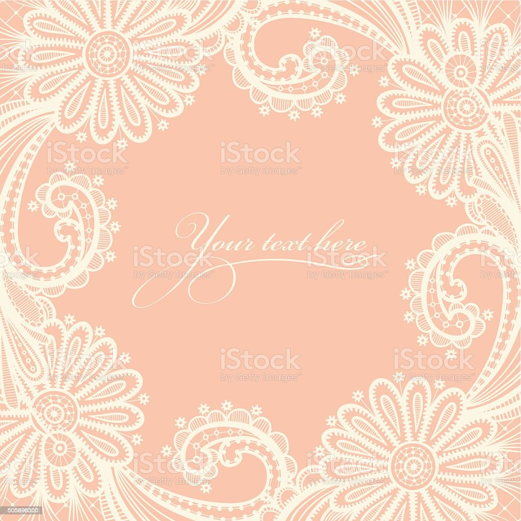 Card with a white lace. vector art illustration