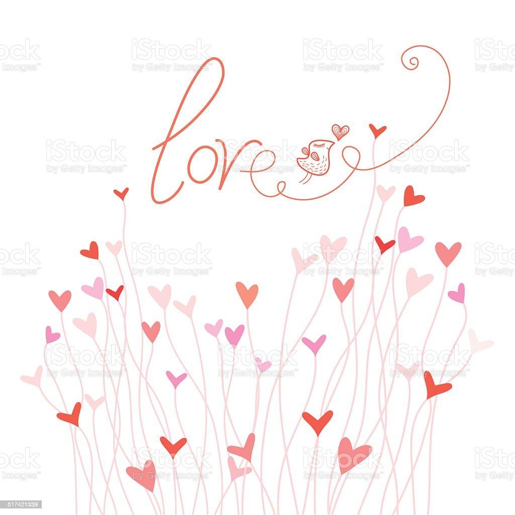 Card with an inscription love vector art illustration