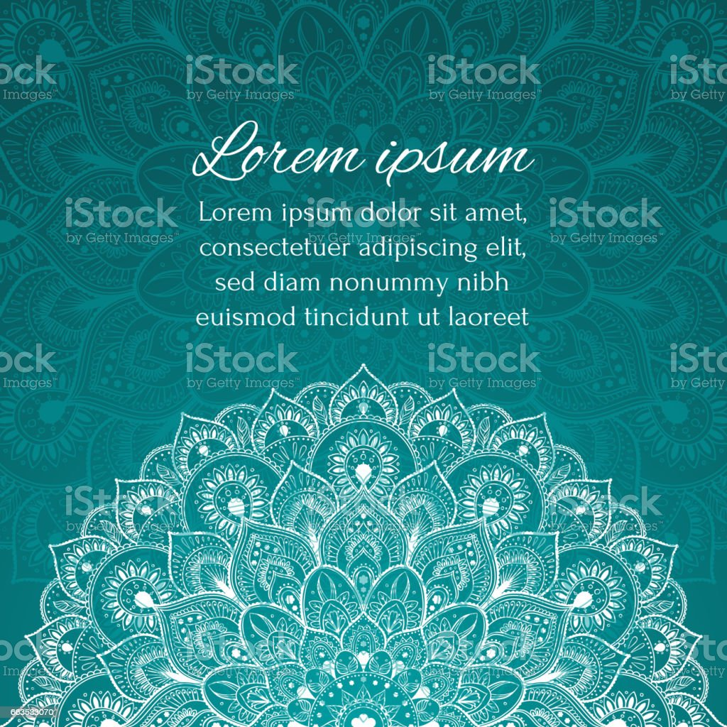 Card with beautiful ethnic mandala with a floral tribal pattern vector art illustration