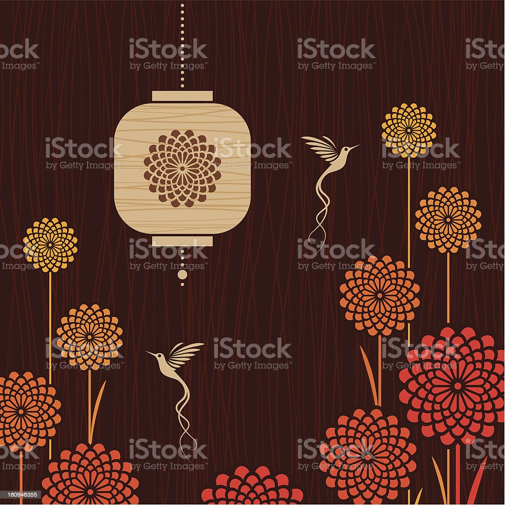 Card with birds, flowers and lantern royalty-free stock vector art