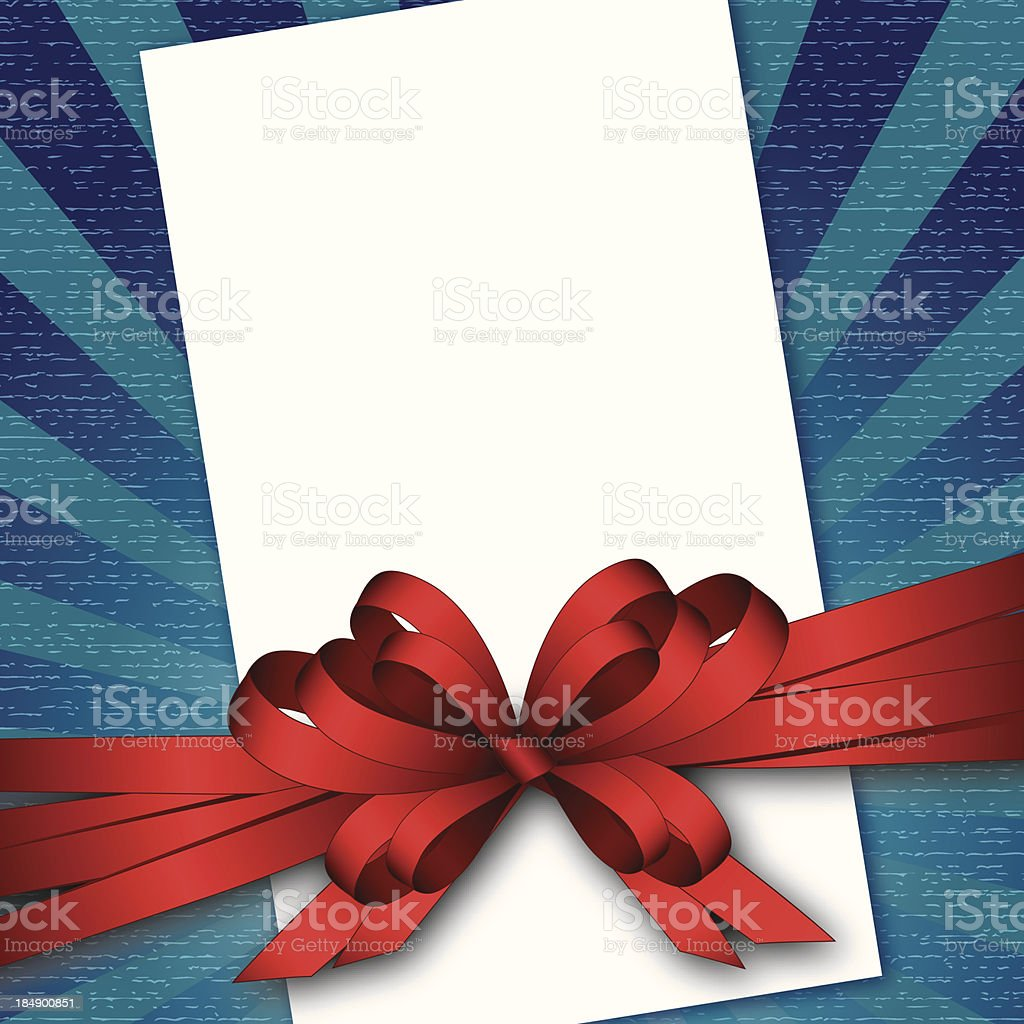card with bow and textured background royalty-free stock vector art