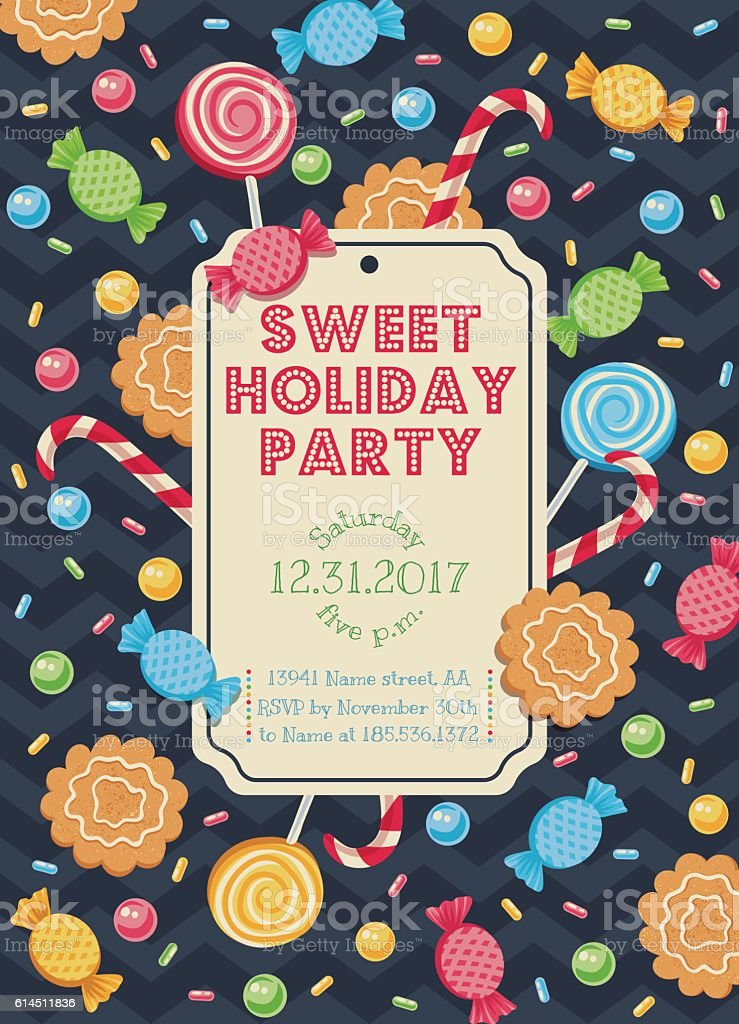 card with candies vector art illustration