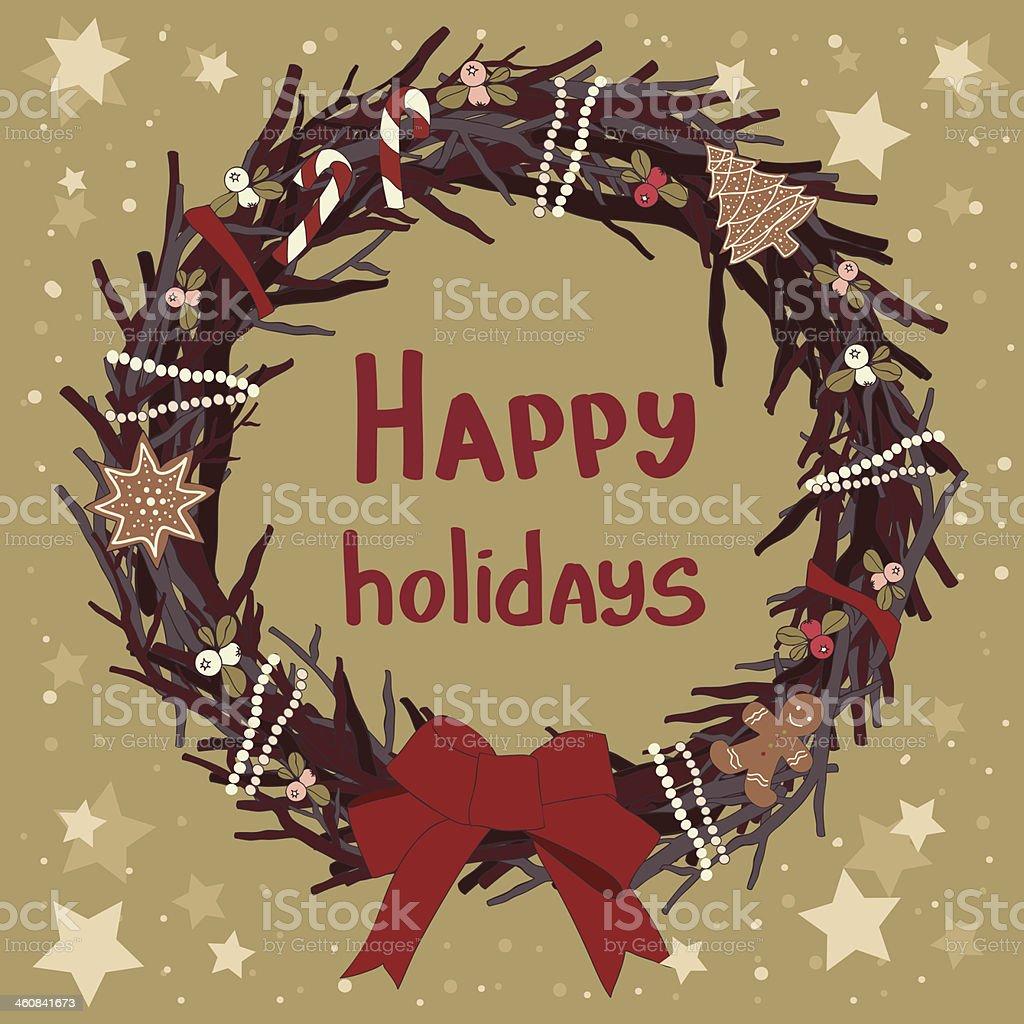 Tarjeta con corona de Navidad. illustracion libre de derechos libre de derechos