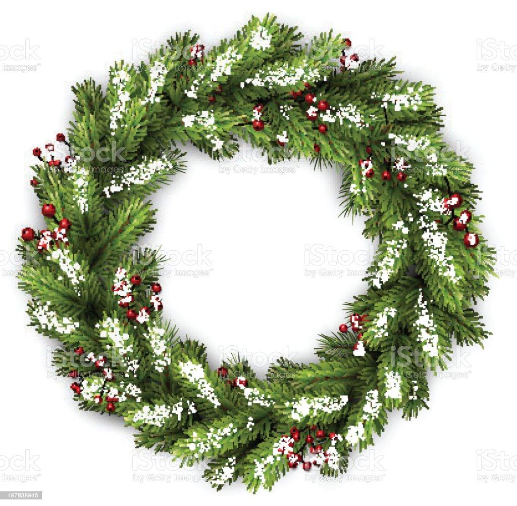 Card with Christmas wreath vector art illustration