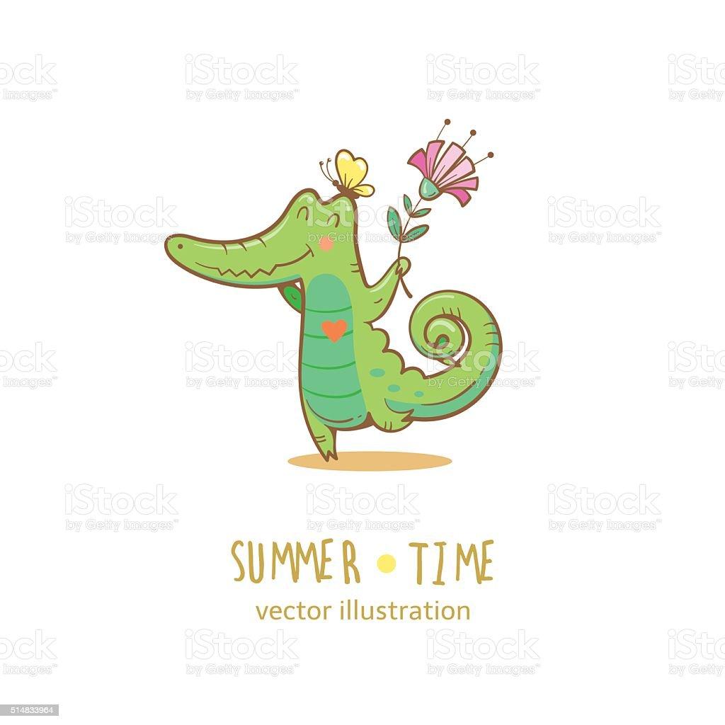 Card with crocodile. vector art illustration