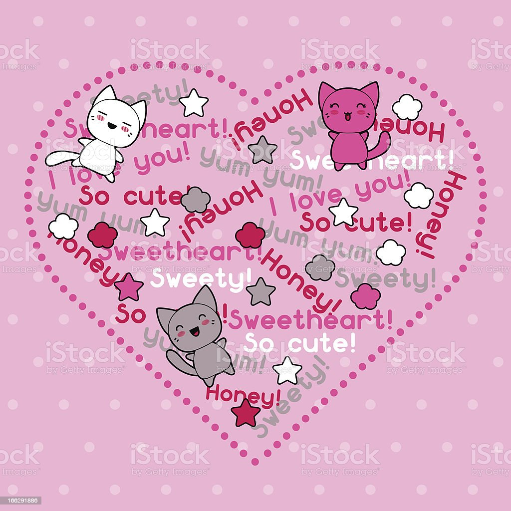 Card with cute kawaii doodle cats. royalty-free stock vector art
