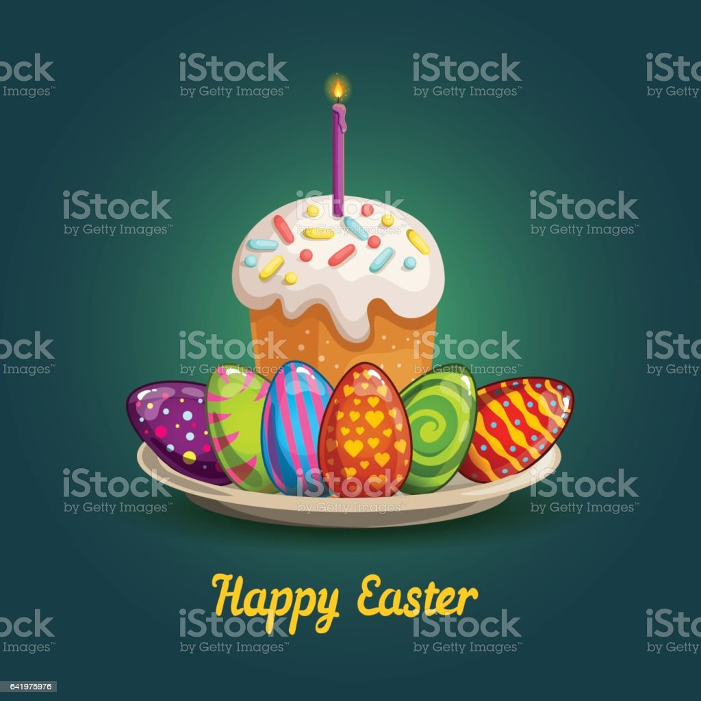 Card with Easter eggs and cake vector art illustration
