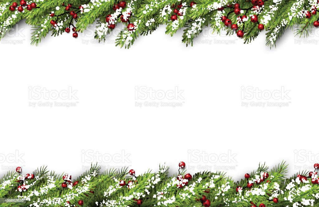 Card with fir branches vector art illustration