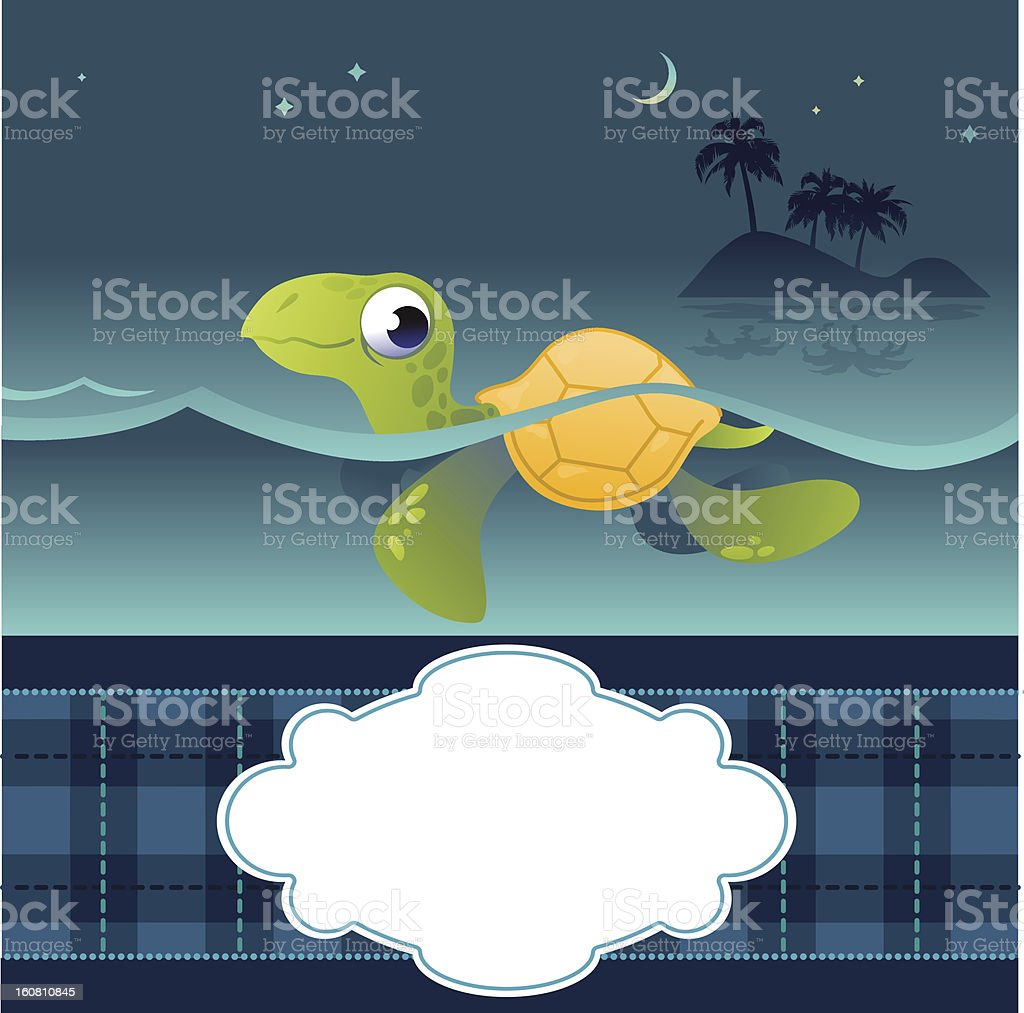 Card With Funny Turtle royalty-free stock vector art