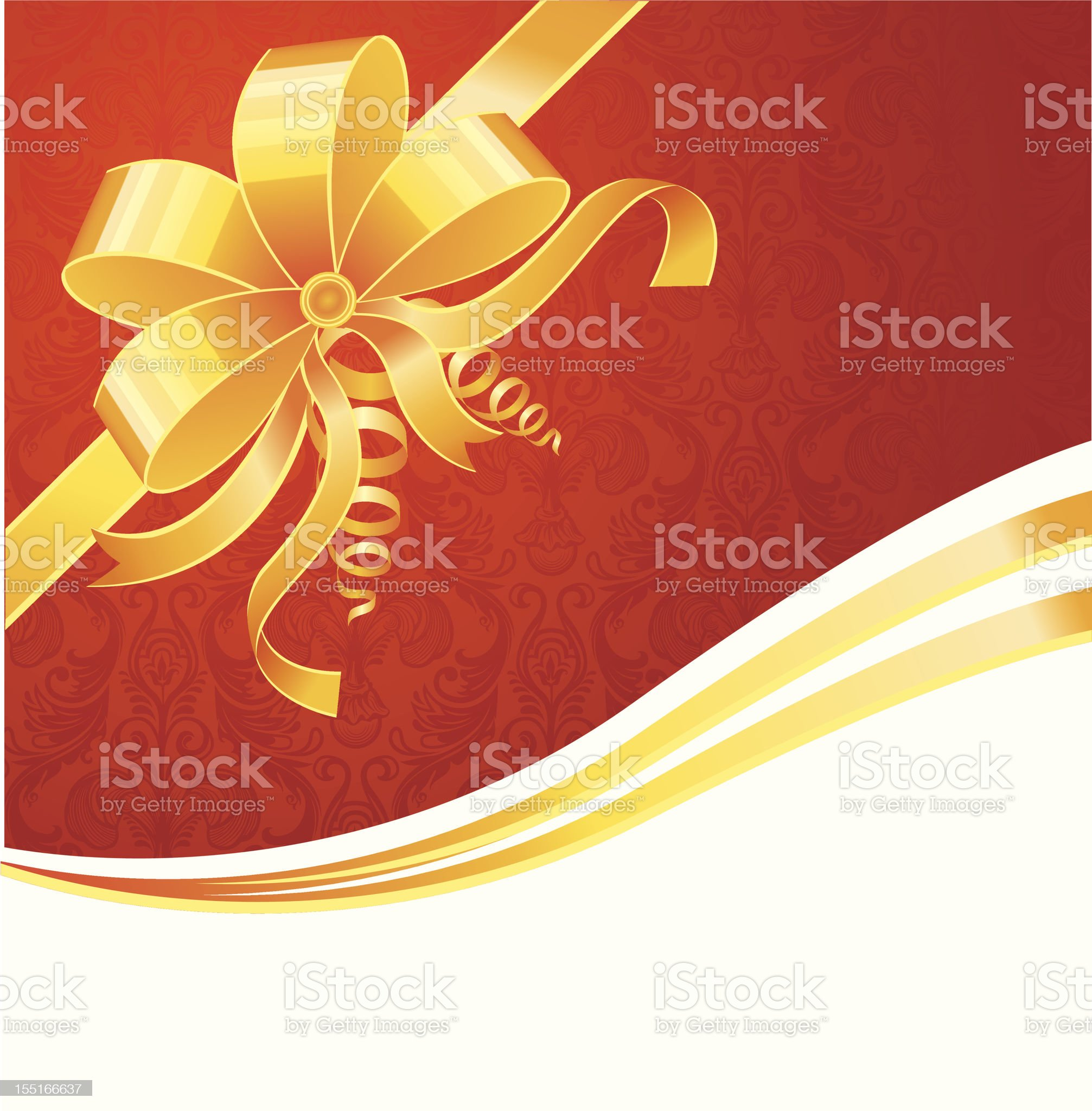 Card with gold bow royalty-free stock vector art