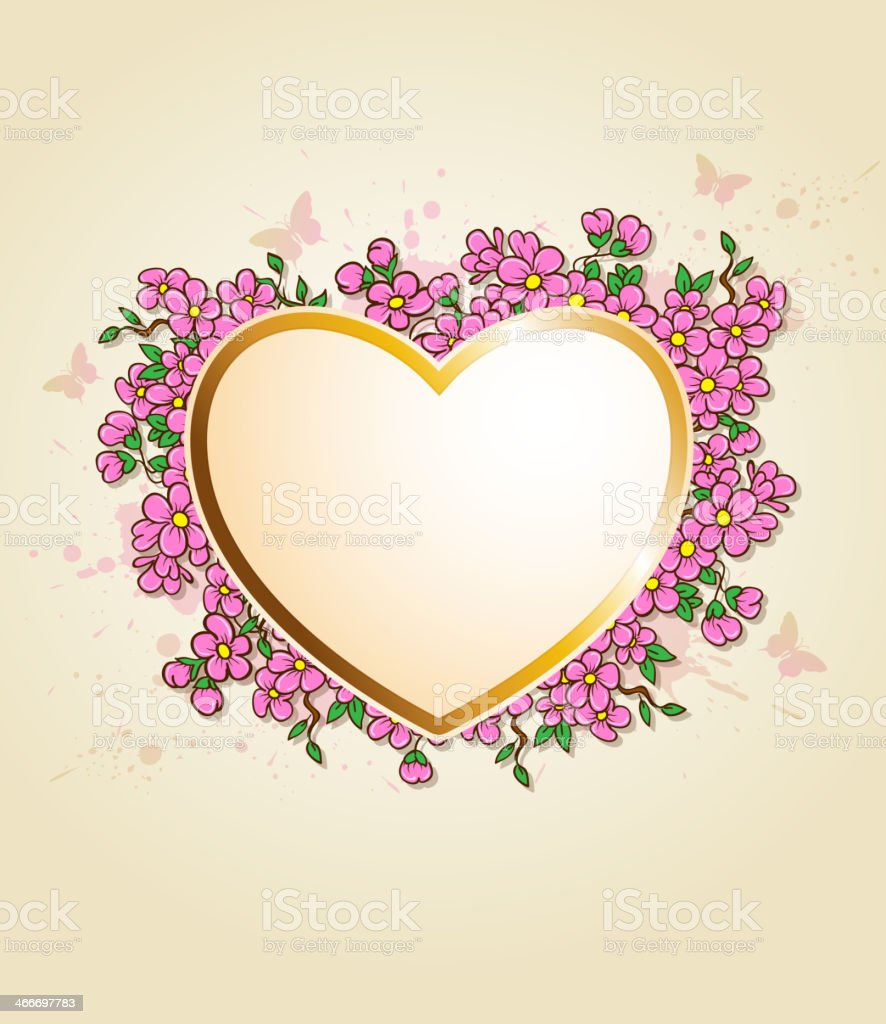Card with heart and pink flowers royalty-free stock vector art