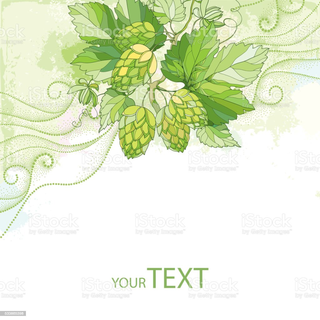 Card with Hops, leaves and cones on the pastel background. vector art illustration