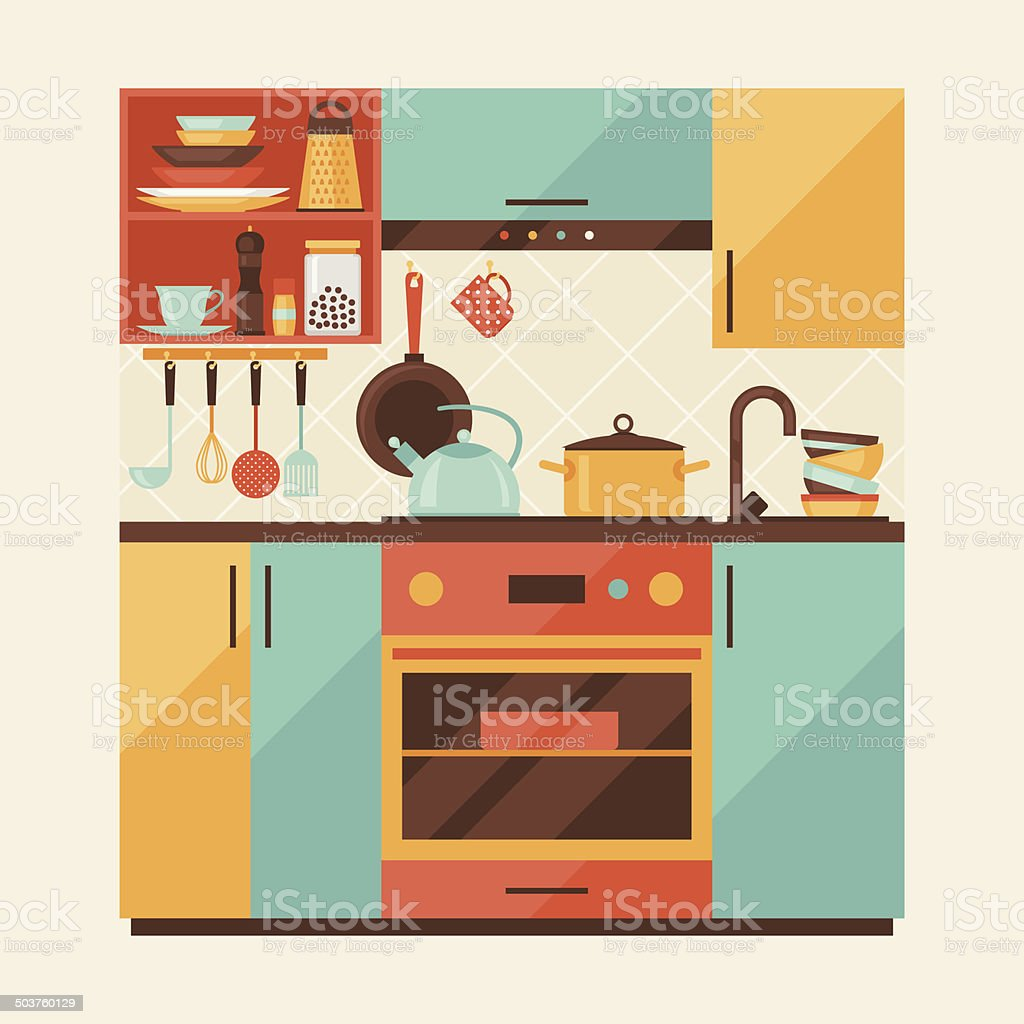 Restaurant Kitchen Illustration restaurant kitchen clip art, vector images & illustrations - istock