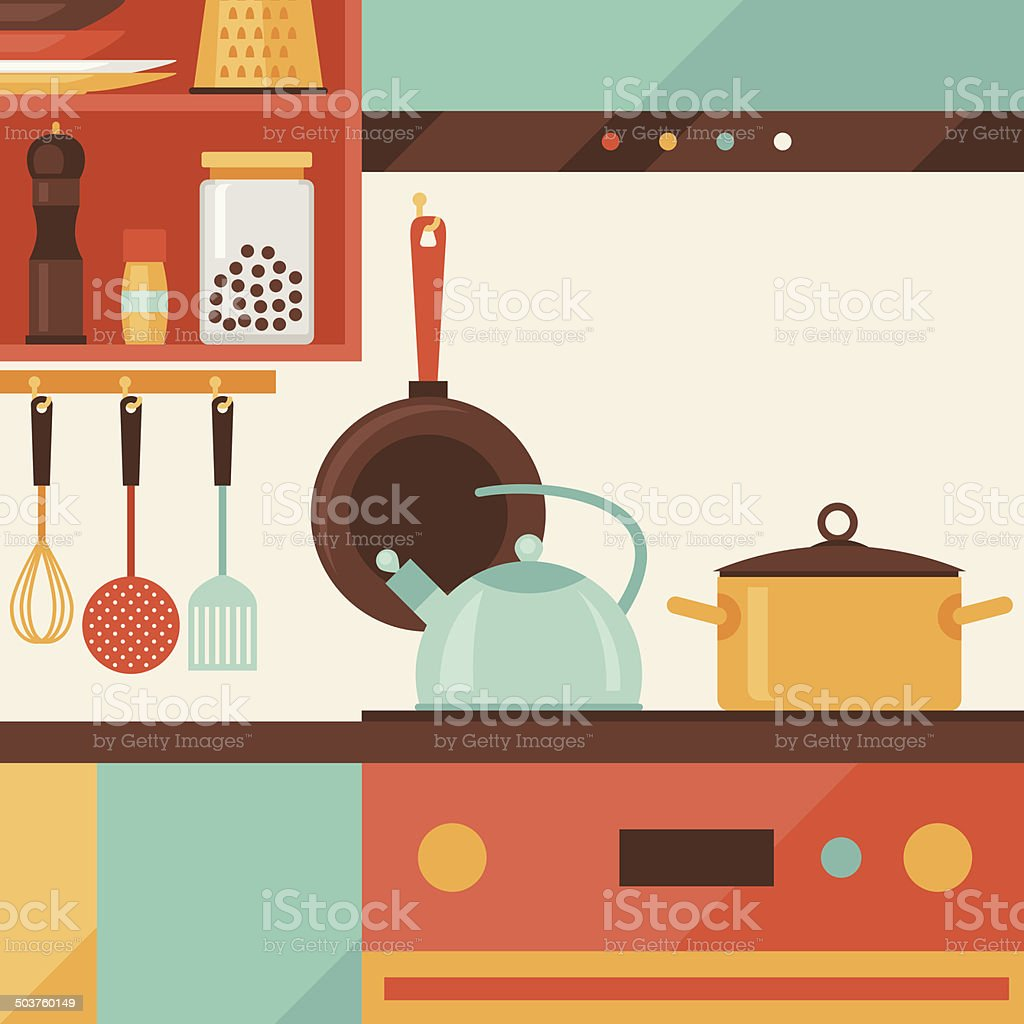 Card with kitchen interior and cooking utensils in retro style. vector art illustration
