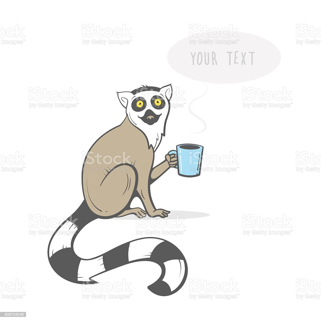 Card with lemur. vector art illustration